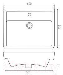 Умывальник Акватон Дрея 70 (1AX013WBXX000) - габаритные размеры