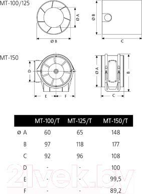 Вентилятор вытяжной Cata MT-150 - схема
