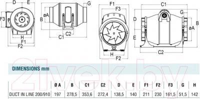 Вентилятор вытяжной Cata DUCT IN-LINE 200/910 - схема
