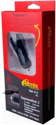 Автомобильное зарядное устройство Ritmix RM-215 - в упаковке