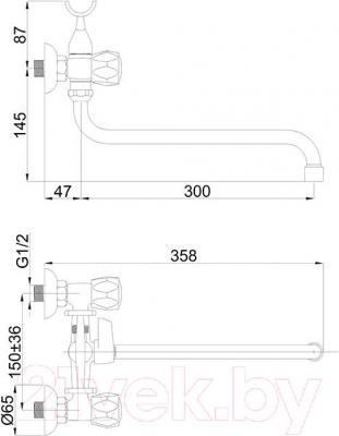 Смеситель Rubineta Globo С-1 (K) - технический чертеж