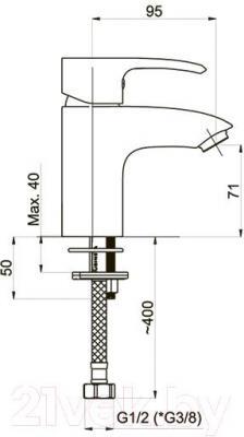 Смеситель Rubineta Artis-18 - технический чертеж