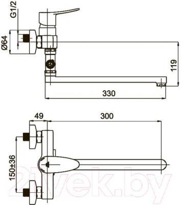 Смеситель Rubineta Static-12/C - технический чертеж