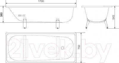 Ванна стальная White Wave Classic 170x75