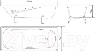 Ванна стальная White Wave Italica 170x75 (с подлокотником и ручками) - схема