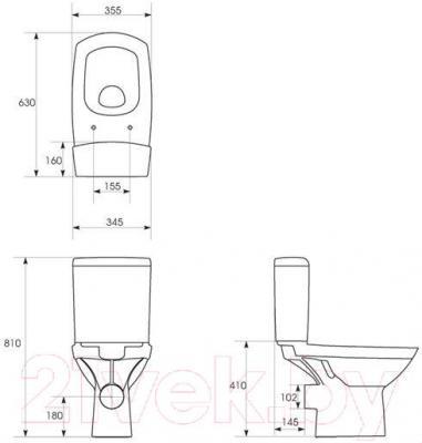 Унитаз напольный Cersanit Carina 011 / S-KO-CAR011-3/6-DL-w (с пневмокрышкой)