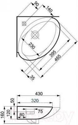 Умывальник настенный Cersanit Teta 40 - габаритные размеры
