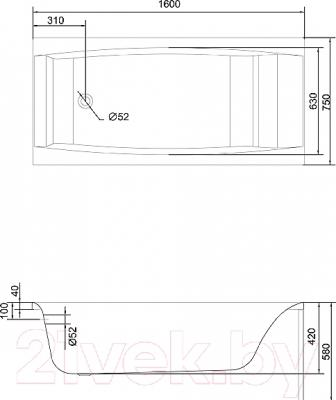 Ванна акриловая Cersanit Virgo 160x75