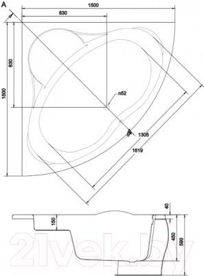 Ванна акриловая Cersanit Venus 150x150 (S301-013)