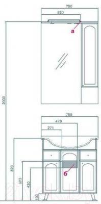 Шкаф с зеркалом для ванной Акватон Майами 75 (1A047502MM01R)