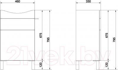 Тумба под умывальник Cersanit Smart S568-016 (белый) - схема