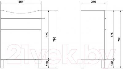 Тумба под умывальник Cersanit Smart S568-019 (серый) - схема размеров