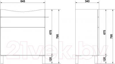 Тумба под умывальник Cersanit Smart S568-014 (белый) - схема размеров