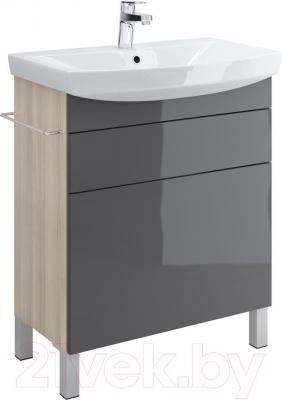 Тумба под умывальник Cersanit Smart S568-015 (серый) - общий вид (умывальник приобретается отдельно)