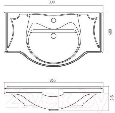 Умывальник накладной Акватон Лорето 85 (1AX134WBXX000) - габаритные размеры