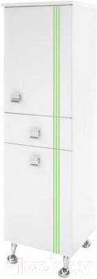Шкаф-пенал для ванной Ванланд Квадро КП-2 (зеленый) - общий вид