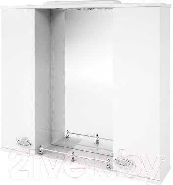 Шкаф с зеркалом для ванной Ванланд Жемчуг 1-80 (белый) - общий вид