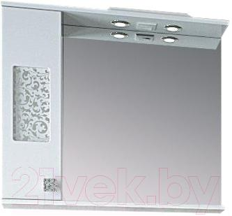 Шкаф с зеркалом для ванной Ванланд Ирис 2-80 (левый) - общий вид