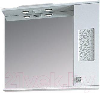 Шкаф с зеркалом для ванной Ванланд Ирис 2-80 (правый) - общий вид