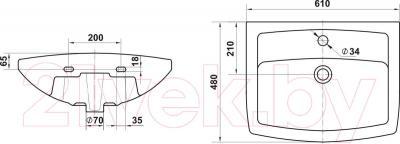 Умывальник настенный Керамин Чезаро 60 Premium - габаритные размеры