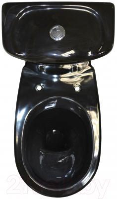 Унитаз напольный Керамин Омега Дуал Premium (черный, с жестким сиденьем)