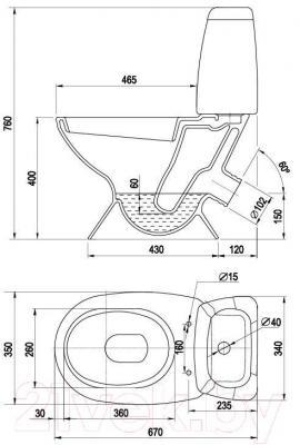 Унитаз напольный Керамин Норд Дуал Premium (с жестким сиденьем)