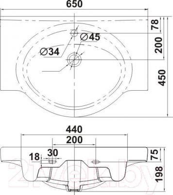 Умывальник накладной Керамин Норд 65 Standard - габаритные размеры