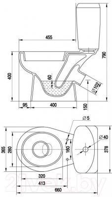 Унитаз напольный Керамин Лидер Алкапласт Premium (с жестким сиденьем)