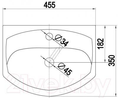 Умывальник накладной Керамин Лидер 45 Standard - габаритные размеры