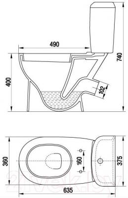 Унитаз напольный Керамин Сити Деко Premium (с жестким сиденьем)