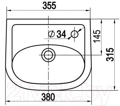 Умывальник настенный Керамин Сити 38 Premium - габаритные размеры