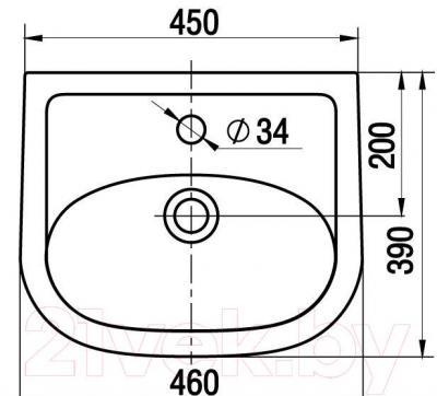 Умывальник Керамин Сити 46 Premium - габаритные размеры