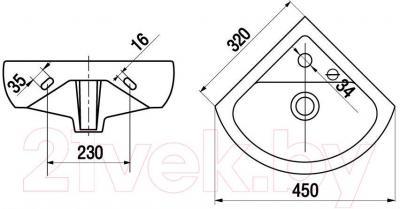 Умывальник Керамин Сити 45 Premium (угловой) - габаритные размеры