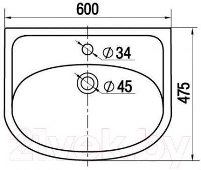 Умывальник накладной Керамин Сити 60 Premium - габаритные размеры