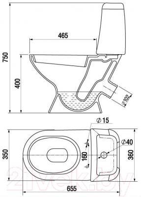 Унитаз напольный Керамин Стиль Дуал Premium (с жестким сиденьем)