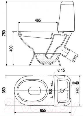Унитаз напольный Керамин Стиль Деко Standard (с полипропиленовым сиденьем)