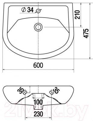Умывальник настенный Керамин Стиль 60 Standard - габаритные размеры