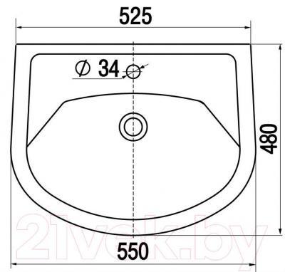 Умывальник накладной Керамин Стиль 55 Standard