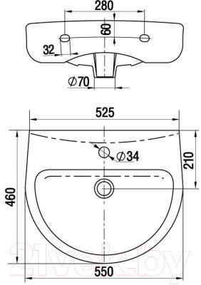 Умывальник Керамин Гранд 55 Premium - габаритные размеры