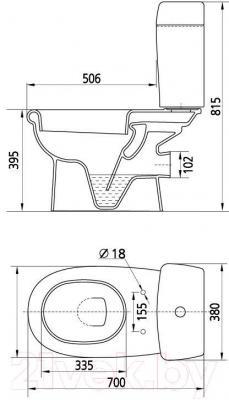 Унитаз напольный Керамин Верона Алкапласт Standard (с полипропиленовым сиденьем)
