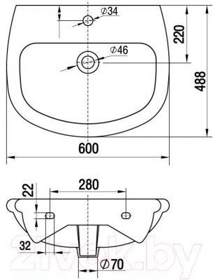 Умывальник настенный Керамин Верона 60 Premium - габаритные размеры