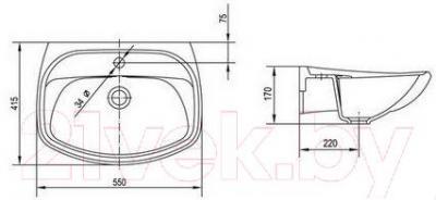 Умывальник настенный Керамин Крокус 55 Standard