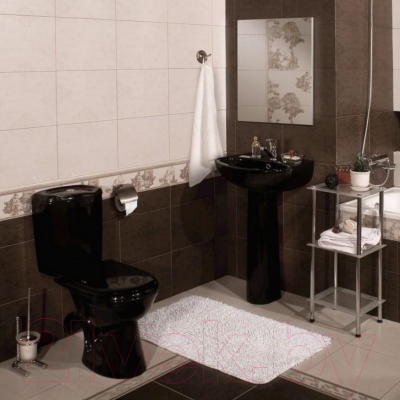 Унитаз напольный Керамин Омега Алкапласт Premium (черный, с мягким сиденьем)