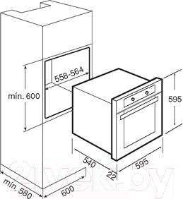 Газовый духовой шкаф Teka FGE 730 NAT - технический чертеж