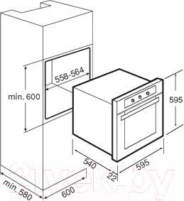 Газовый духовой шкаф Teka FGA 820 NAT - схема встраивания