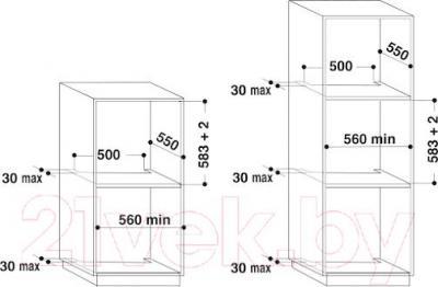 Газовый духовой шкаф Whirlpool AKP 807 IX - схема встраивания