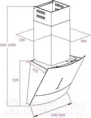 Вытяжка декоративная Teka DVU 560 / 40491310 (белый) - габаритные размеры