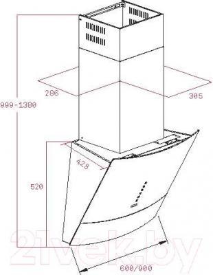 Вытяжка декоративная Teka DVU 590 / 40491305 (черный) - габаритные размеры