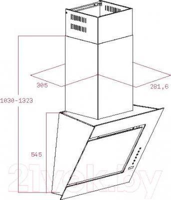 Вытяжка декоративная Teka DVC 560 / 40491340 (белый) - габаритные размеры