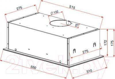 Вытяжка скрытая Teka GFG 2 / 40446751 (белое стекло) - габаритные размеры
